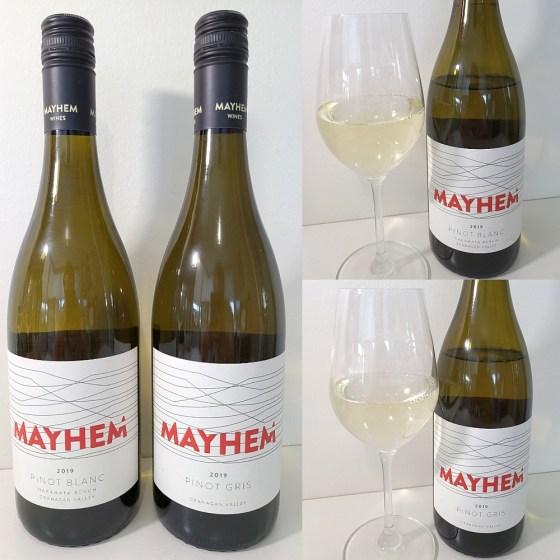 Mayhem Wines Pinot Blanc and Pinot Gris 2019 with wines in glasses