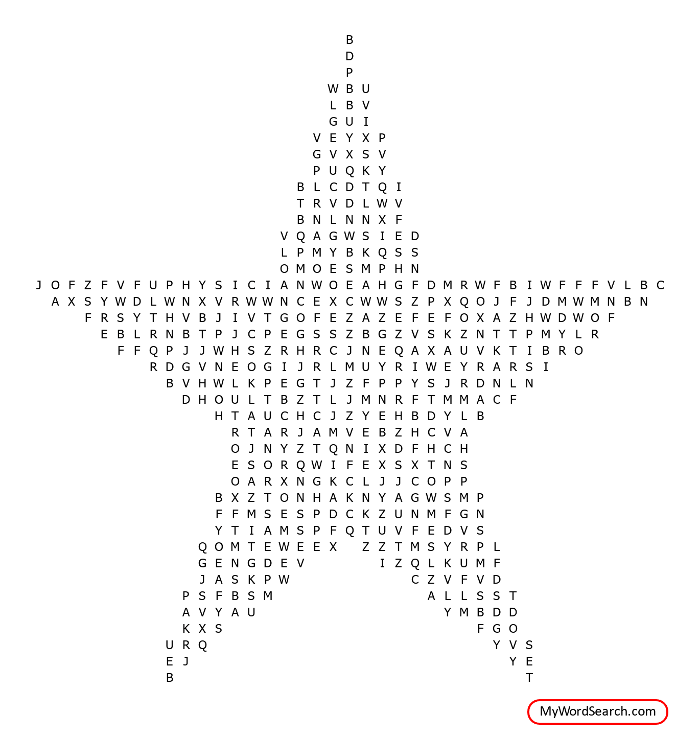 Gems In Space Word Search