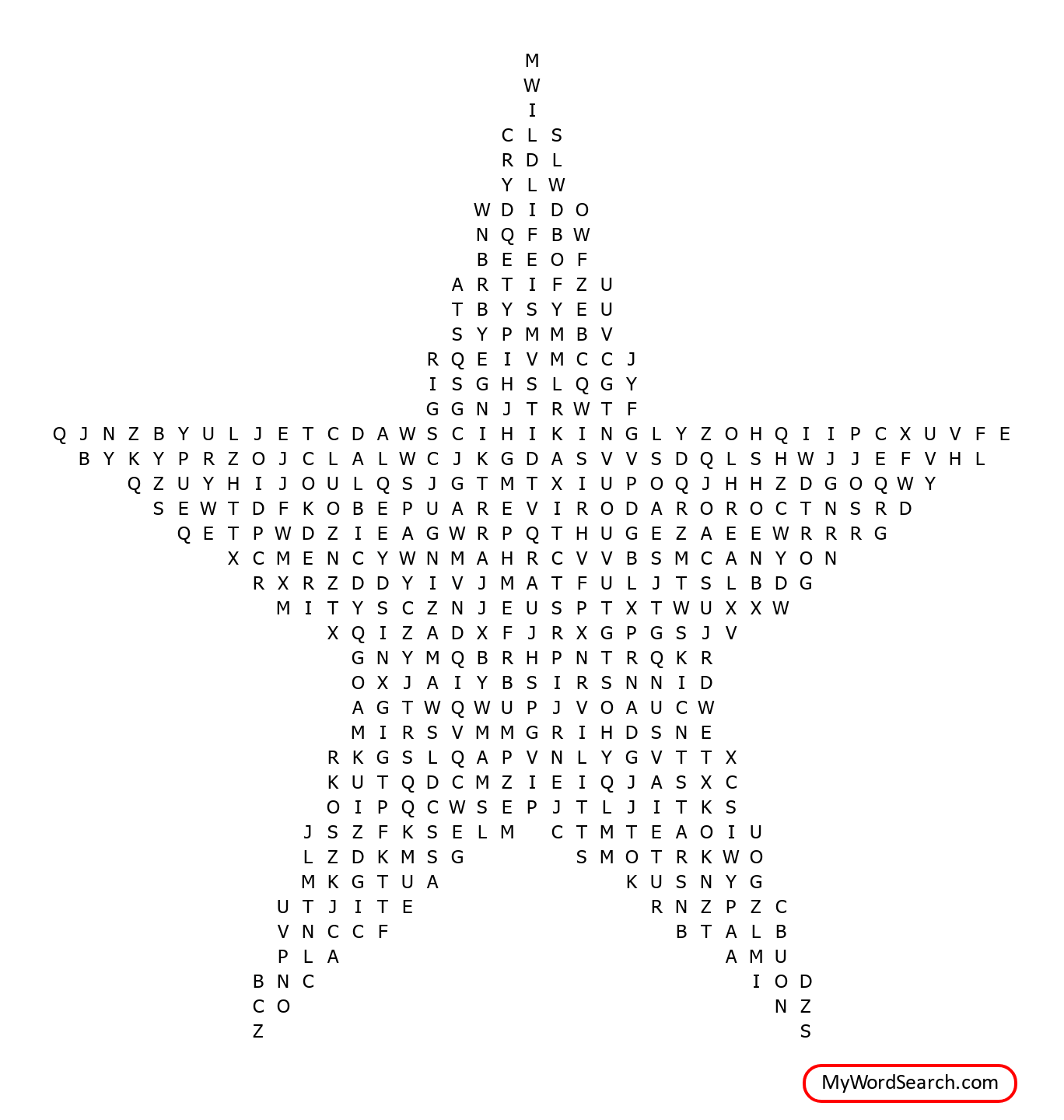 Grand Canyon N P Wordsearch