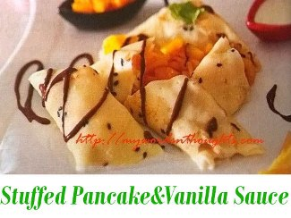 Stuffed Pancake with Vanilla Sauce
