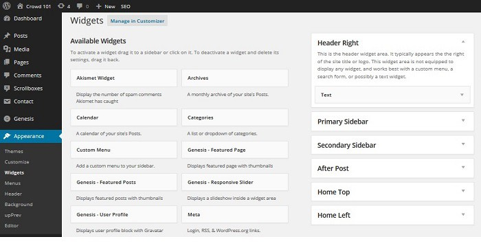 how to start a blog wordpress widgets