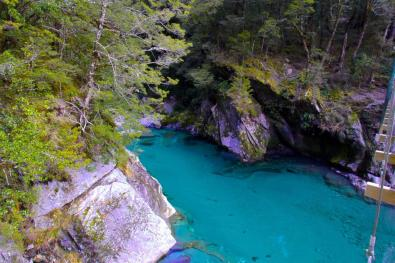 Blue Pools – says it all, though it cannot capture the actual colour that is really there. See if you can spot the Trout in the water.