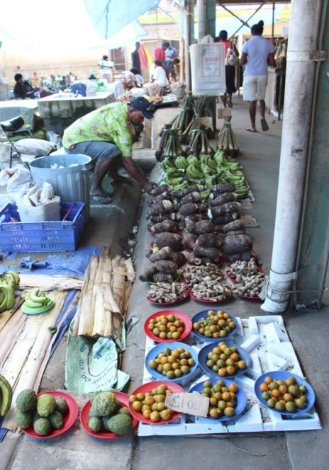 Some of the produce at the Nadi vegetable and fruit market