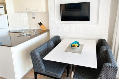 Kitchen & dining in a 1-Bedroom apartment at WorldMark Resort Golden Beach