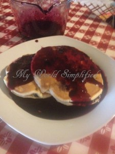 blueberry sauce and blueberry pancakes