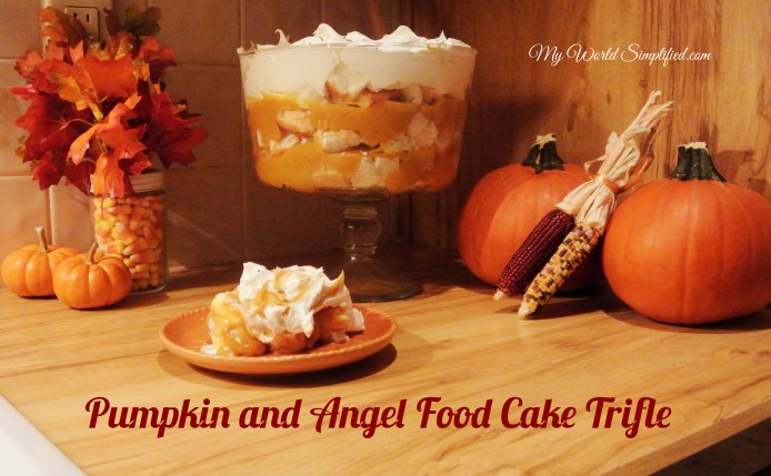 Easy pumpkin pudding with  chunks of angel food cake