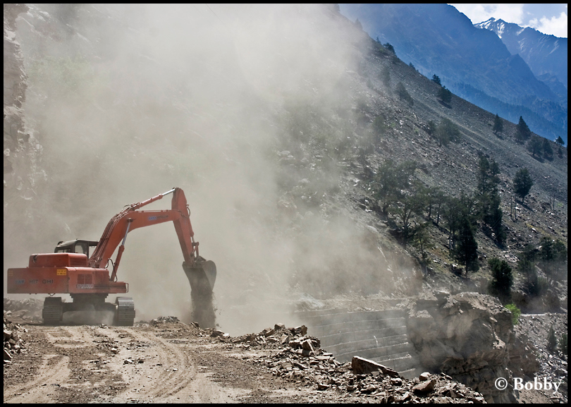 Encountered quite a few BRO bulldozers at work, clearing rocks and boulders off the road..
