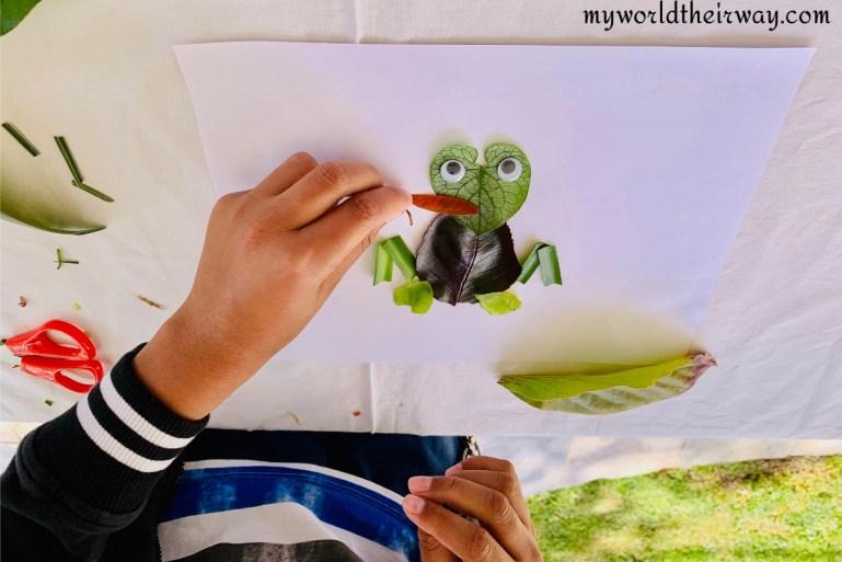 fly on frog leaf craft