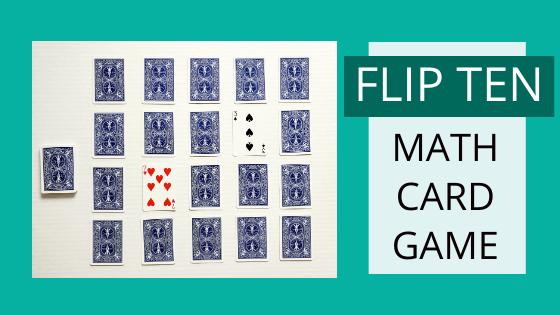 Flip ten math card game