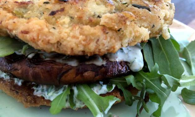Cauliflower Focaccia Bun with Portobello Mushroom