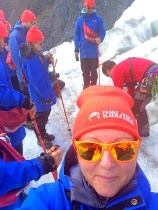 Taking selfies instead of listening to instruction on how to tie up the crampons.