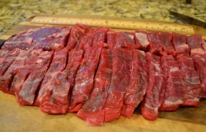 "Cut beef into 3"" strips"