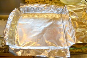Foil-lined baking dish