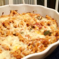 Gemelli Pasta Bake with Parmesan & Mozzarella and Rustic Italian Bread