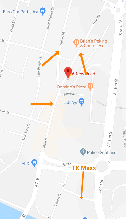 Map of parking spots near the Yoga studio