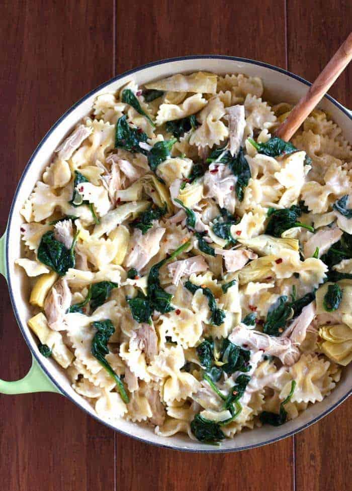This Spinach Artichoke Chicken Pasta is so quick, easy, creamy and delicious!