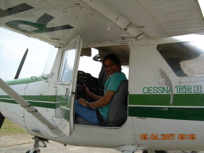 Sharda Bapat flying her plane in Philippines