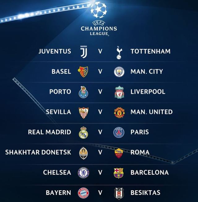 Interesting Fixtures In The UEFA Champions League Round Of - Uefa champions league fixtures table