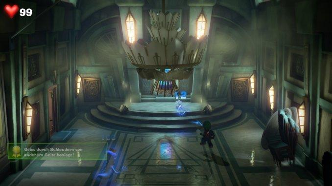 Das Foto zeigt ein aufploppenden Achievement-Text, als Luigi durch Schleudern einen anderen Geist besiegt.