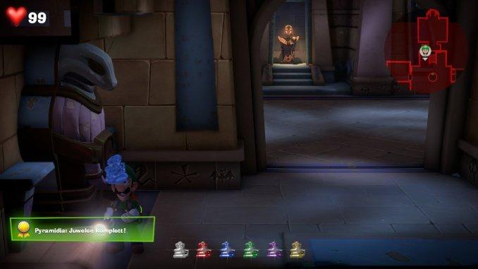 Das Foto zeigt, wie Luigi den letzten Juwel im Wüsten-Stockwerk einsammelt und somit alle sechs beisammen hat.