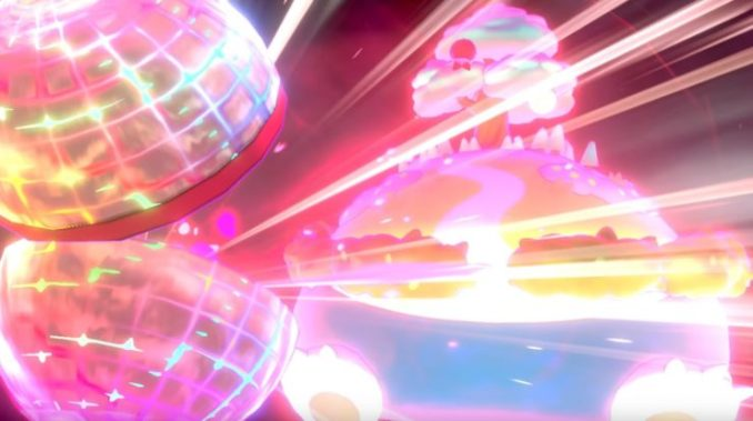 """Das Bild zeigt einen Gigadynamax-Kampf in """"Pokémon Schwert/Schild."""