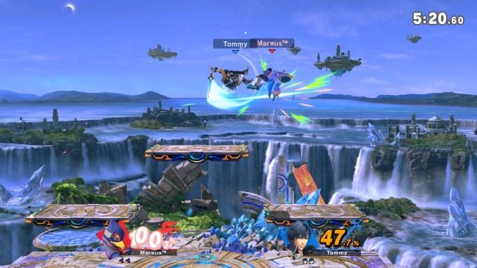 Das Foto zeigt eine Attacke von Chrom, wo er sich selbst in der Luft dreht und Falco von oben mit einem Schwert schlägt.