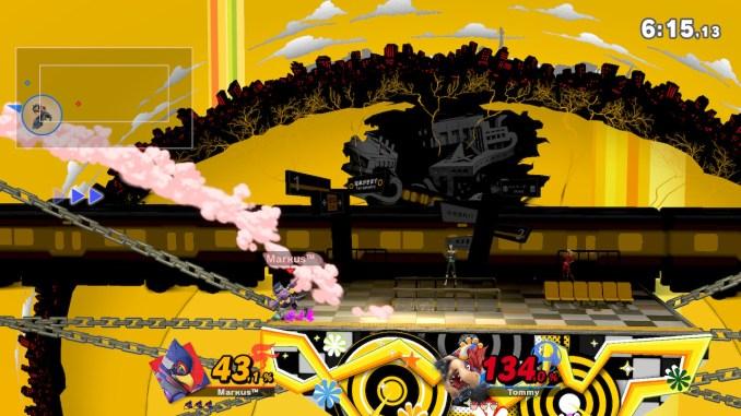 Das Foto zeigt, wie Falco Bowser in die linke Deadzone befördert.