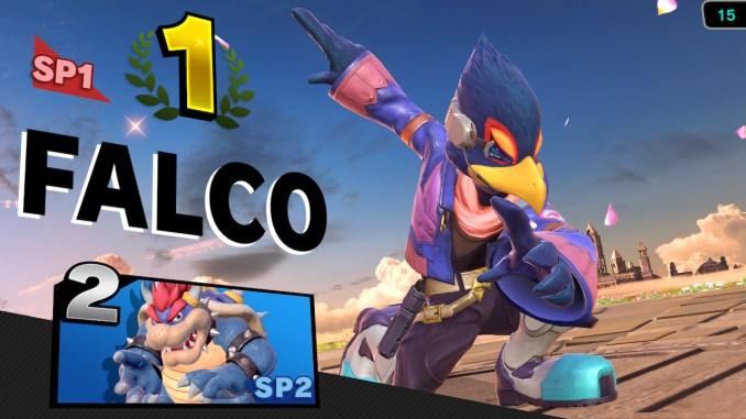 Das Foto zeigt den Sieger-Screen mit einer Pose von Falco.