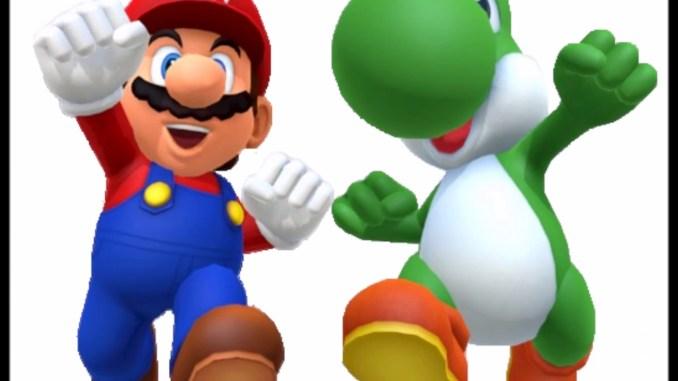 Das Foto zeigt Mario und Yoshi in freudiger Pose nebeneinander.