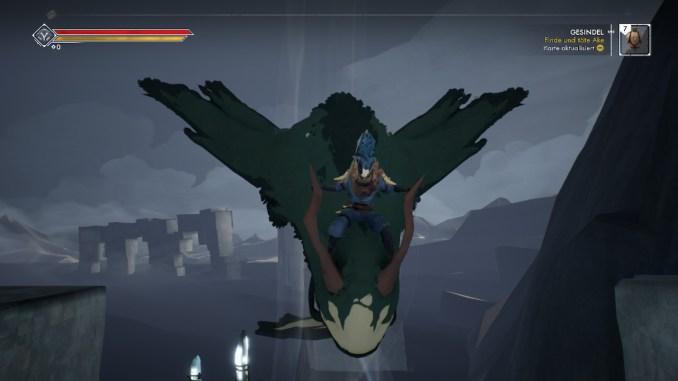 Das Foto zeigt, wie unser Spielcharakter die Schnellreise auf einem Flugwesen unternimmt.