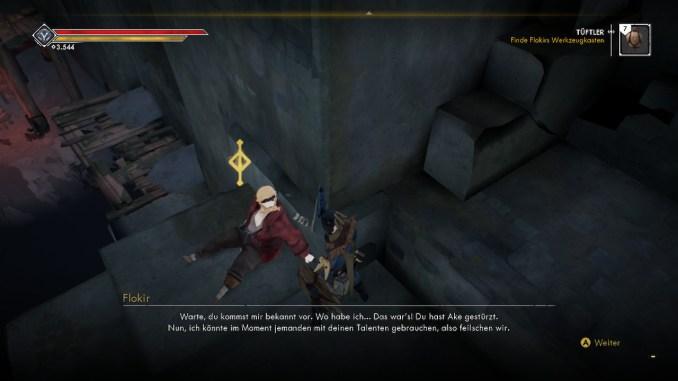 Das Foto zeigt einen Dialog zwischen dem Spielcharakter in einem Dialog.
