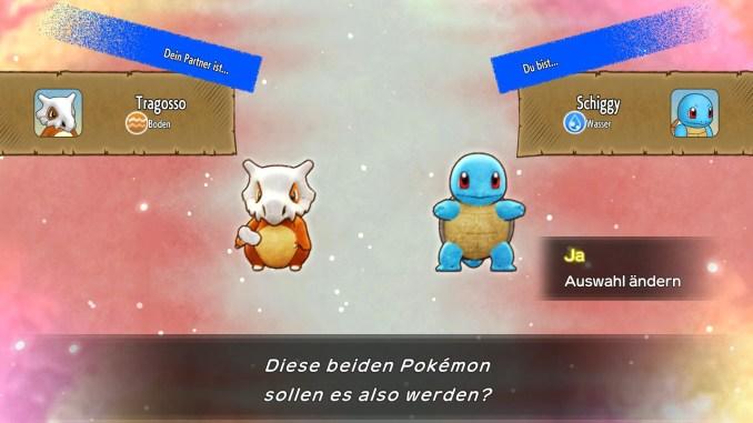 Das Foto zeigt die Pokémon Schiggy und Tragosso aus der Demo zu Pokémon Mystery Dungeon: Retterteam DX.