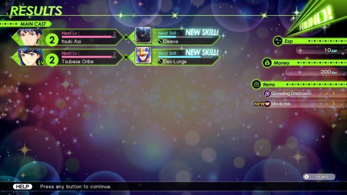 Der typische Bildschirm nach einem rundenbasierten Kampf, Tokyo Mirage Sessions #FE Encore