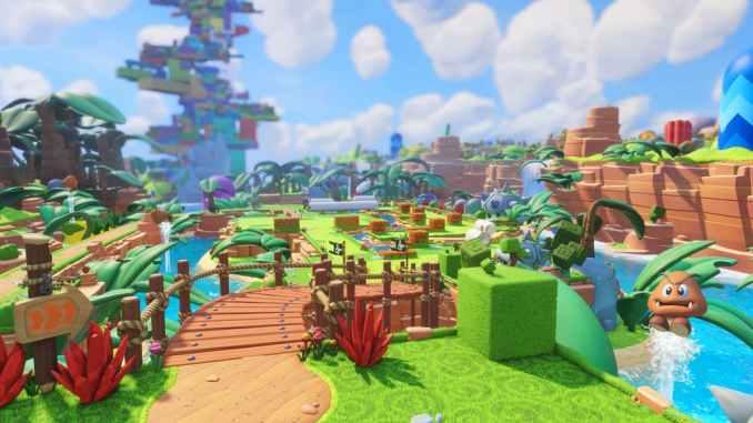 Das Foto zeigt einen bunten Teil der Oberwelt aus Mario + Rabbids.