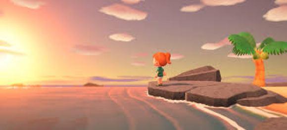 Eine Szene aus dem neuen Spiel Animal Crossing: New Horizons. Eine Spielfigur steht auf einem Stein und starrt sehnsuchtsvoll in die untergehende Sonne.