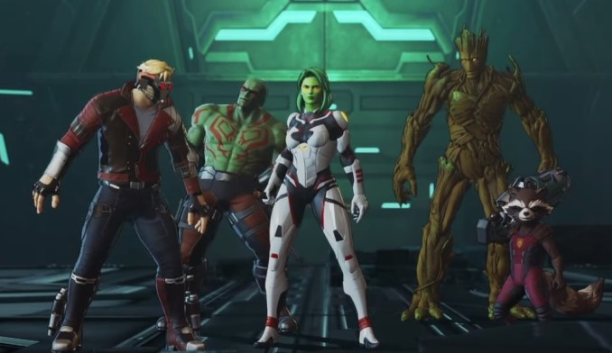 Das Bild zeigt unser Team, bestehend aus den Guardians of the Galaxy, zu Beginn des Abenteuers aus Marvel Ultimate Alliacne 3.