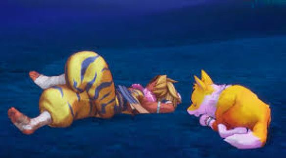 Das Foto zeigt den schlafenden Kevin. Neben ihm liegt ein schlafender Fuchs.