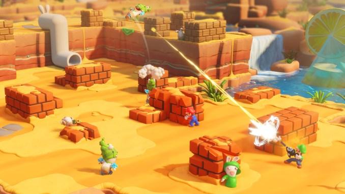 Das Foto zeigt, wie Luigi einen Gegner mit einer Staubsauger-Waffe abschießt.