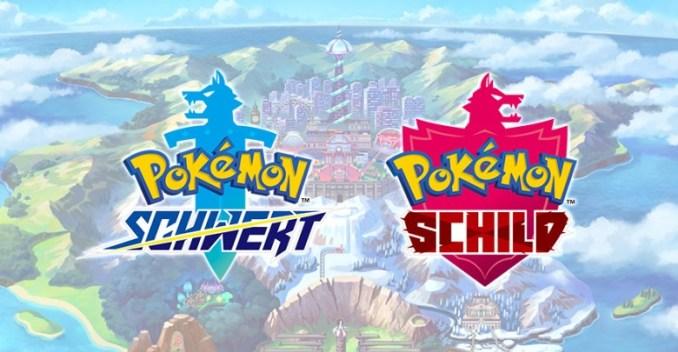 Das Bild zeigt einen Werbebanner von Pokémon Schwert und Schild für die Nintendo Switch.