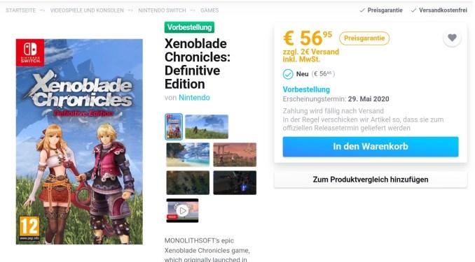 Coolshop listet das Erscheinungsdatum von Xenoblade Chronicles: Definitive Edition