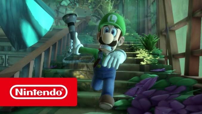 Das Bild zeigt Luigi ängsterfüllt rennend im Gewächshaus bei Luigi's Mansion 3 auf der Nintendo Switch.