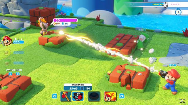 Das Foto zeigt, wie Mario einen Rabbid hinter einer Deckung abschießt.
