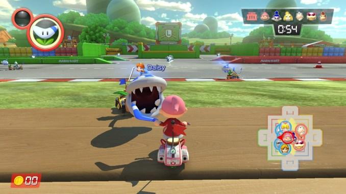 Das Bild zeigt, wie die Piranha-Pflanze nach einem Bewohner aus Animal Crossing schnappt. Dieser hält einen Bumerang.