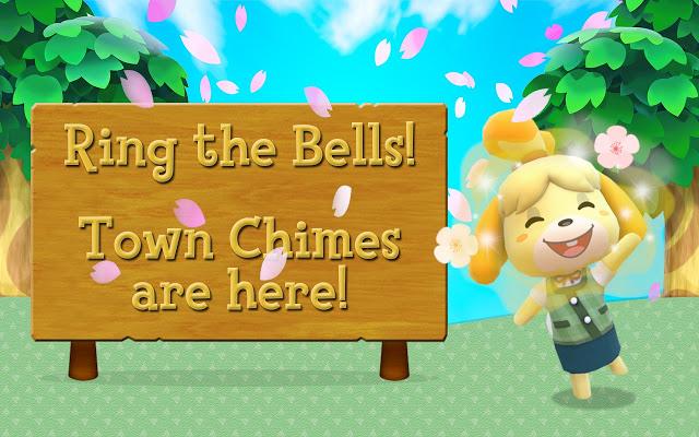 Das Bild zeigt ein Schild, neben welchem eine begeisternd winkende Melinda zu sehen ist. Es handelt sich um einen Hinweis auf das kostenlose Add-On von Google Chrome zu Animal Crossing. Auf dem Schild steht: Lasst die Glocken klingeln: Stadtmusik gibt es hier.
