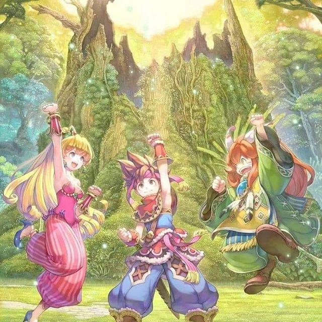 Das Bild zeigt ein Artwork zu dem Spiel Seiken Densetsu 3, im westlichen Raum eher unter dem Namen Trials of Mana bekannt. Es zeigt den toten Stamm des Weltenbaumes. Im Fordergrund sind drei Charaktere zu sehen, darunter vermutlich Duran und Charlotte.