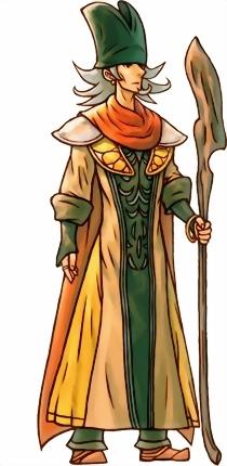 Das Bild zeigt den Masken-Magier, einer von drei möglichen Entbossen in Trials of Mana. Es zeigt den einst menschlichen Magier. Er trägt einen grünen Hut und hält einen Druidenstab in der Hand.