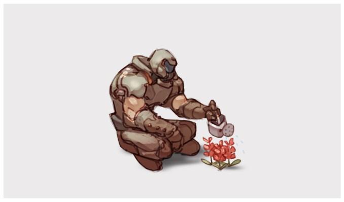 Das Bild zeigt eine Fanart von Doom und Animal Crossing