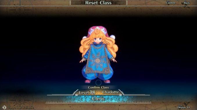 Das Bild zeigt Charlotte, einen der sechs spielbaren Charaktere von Trials of Mana. Sie ist Level 38 auf dem Bild, ihre Klasse wurde gerade zurück gesetzt.