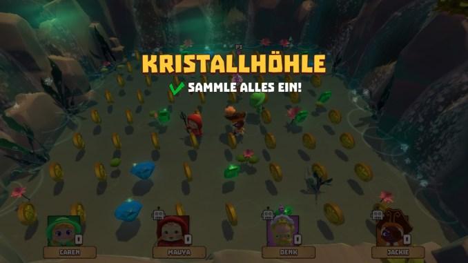 """Der Screen zeigt dass Spiel """"Kristallhöhle"""". Es ist eins der ruhigeren Spiele in Marooners. Man sieht die Diamanten, die gesammelt werden müssen."""