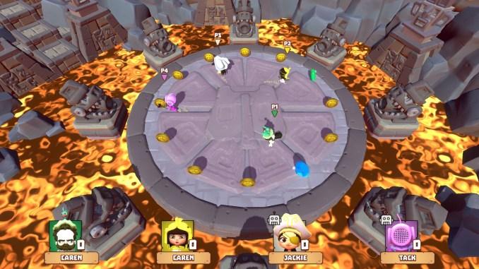 Der Screen zeigt das Spiel Schwefelbecken, ein Minispiel in Marooners. Man sieht feuerspeiende Götzen und Lava. Die vier Spieler sammeln Diamanten und Kristalle.